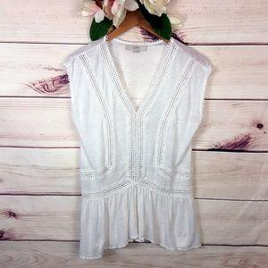 Ann Taylor Loft | Linen White Blouse S